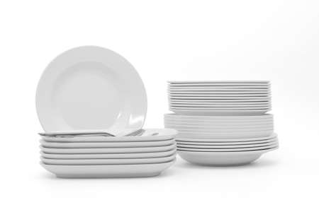 set clean dishes glasses on white background 版權商用圖片