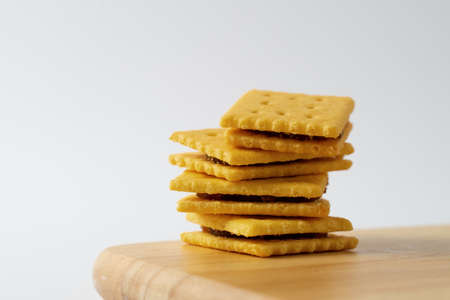 pineapple cookies biscuits snack on white background 版權商用圖片