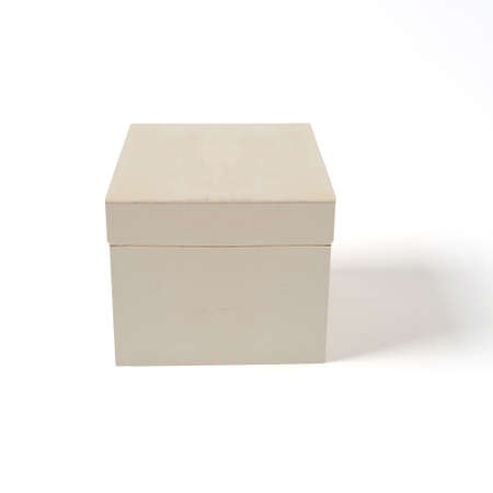 opened wooden box on white background