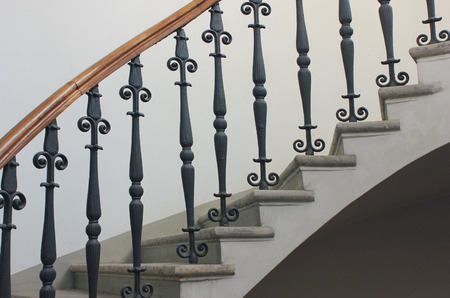 Staircase Handrailing In Old Historic Building. Interior Decor Of Vintage  Stairs With Metal Ornament And