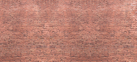 Red old brickwall pattern on weathered house wall. Rustic retro brick wall structure, long banner