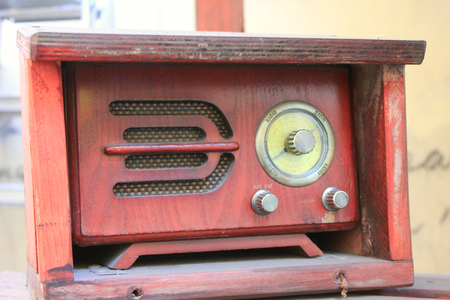 Radio outdoors in red box