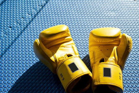 velcro: Yellow boxing gloves on blue mat