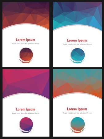 polly: Set of different low polly colorful brochures.Business fliers with abstract background.