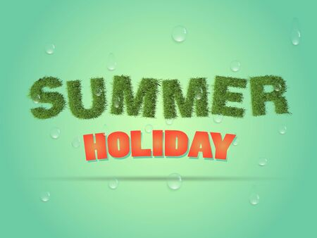 flier: Business poster for holiday.Summer holiday banner or flier made of green grass with water drops.