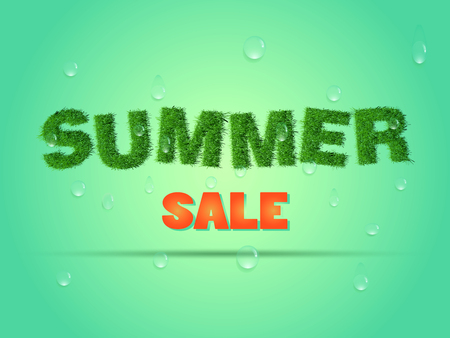 flier: Business poster for discount.Summer sale banner or flier made of green grass with water drops. Illustration