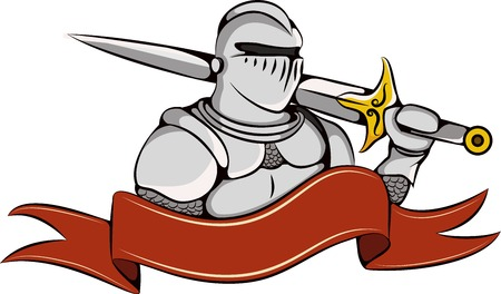 Knight with sword and ribbon icon. Warrior in white armor icon.