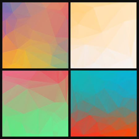 polly: Set of abstract geometric backgrounds with triangles. Low polly colorful patterns for design.