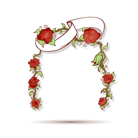 flier: Roses and ribbon illustration for brochure or flier design.