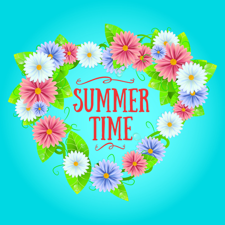 Fresh summer background with grass and daisies flowers. Illustration