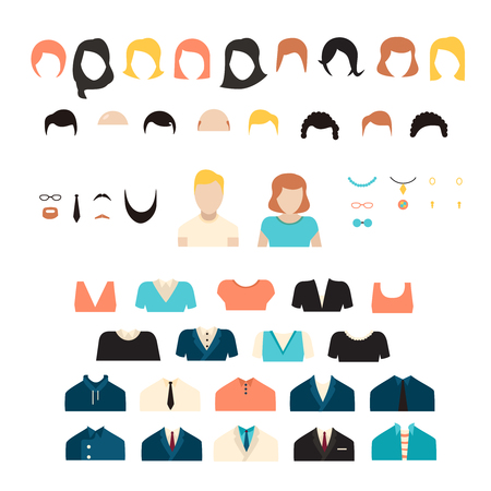 dress up: Big girl and boy stylish kit, vector girl and boy characters avatars constructor. Big vector set of dress up constructor with different student girl haircuts, glasses, wear in trendy flat style.