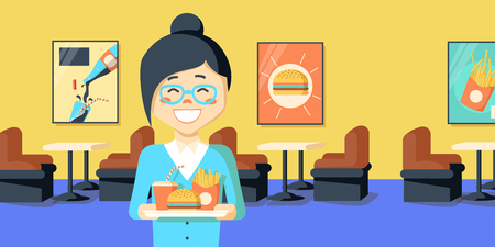lunch tray: An asian woman holding tray full of junk food on a cafe background. Smiling woman in fast food restaurant. Woman having lunch in fast food restaurant. Vector flat design illustration. Horizontal