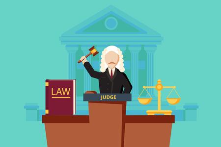 derecho penal: Concepto de la ley con el juez y el edificio de la corte. ilustración vectorial