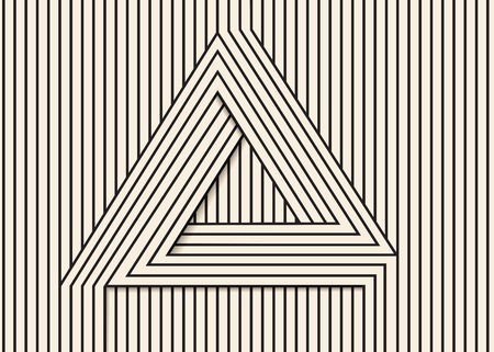 trickery: Abstract background made in vector. Optical illusion triangle.Black and white line art.