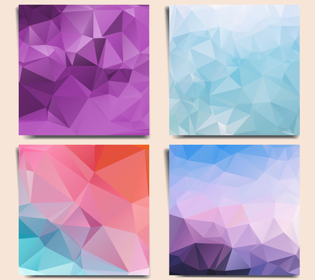 er: Set of abstract geometric backgrounds with triangles. Low poly polygonal textures.
