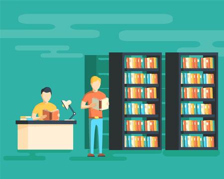 Education concept. Reading in library vector illustration Illustration