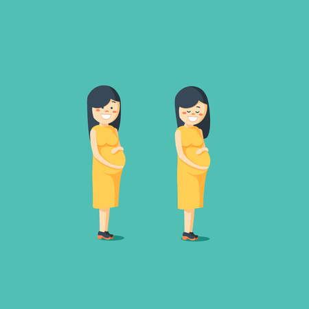 awaiting: Motherhood. Pregnant woman posing. Happy expectant mother. Vector illustration of a flat design