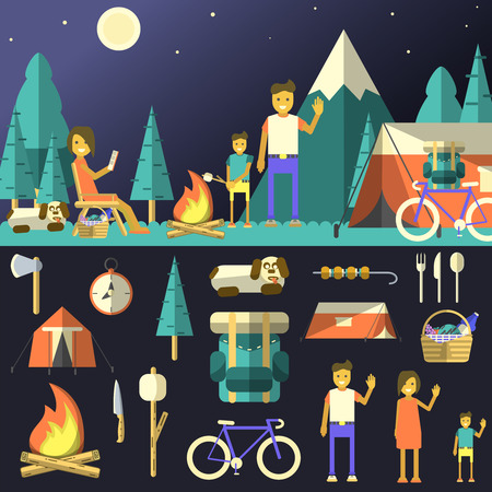 Camping vector illustration. Family outdoor rest. Set of flat design objects for camping.
