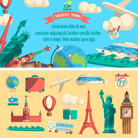 Travel time vector illustration. Flat design of traveling banner with different elements. Set of objects for tourism.