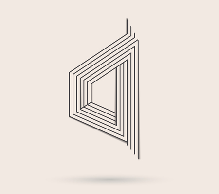 trickery: Abstract vector logo.Triangle line art logo made in black and white.Minimalistic logo.