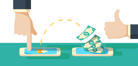 People sending and receiving money wireless with their mobile phones. Hand tapping smart phone with banking payment app. Modern flat style concept illustration isolated on white background. Illustration
