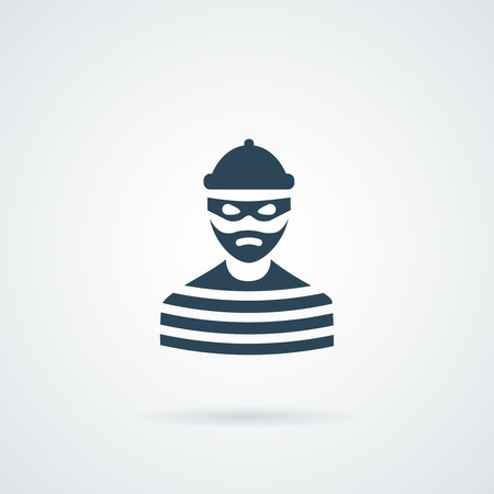 thief criminal prisioner person isolated illustration with a shadow