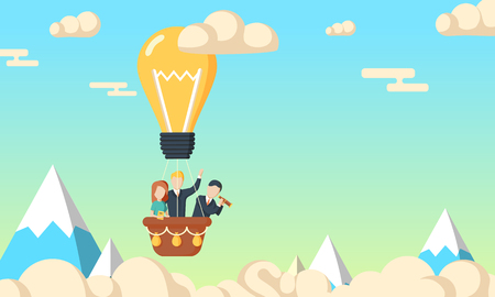 Group of business man and woman flying in the sky on hot air balloon and planning ahead. Looking through spyglass over mountain peaks. Idea concept. Flat style illustration.