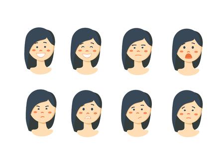 desprecio: Set of womans emotions. Facial expression. Girl Avatar. illustration of a flat design