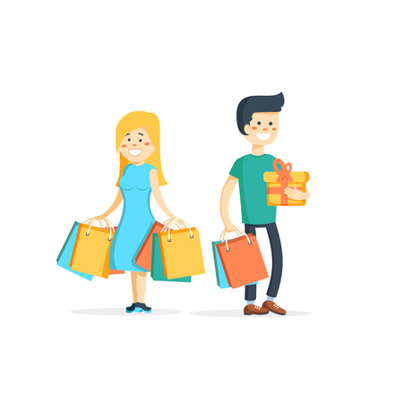 Happy family couple with shopping. Man and woman with bags. Big Sale. illustration of a flat design