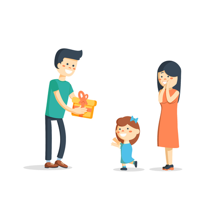 Childrens birthday. Parents give her son a birthday present. illustration of a flat design