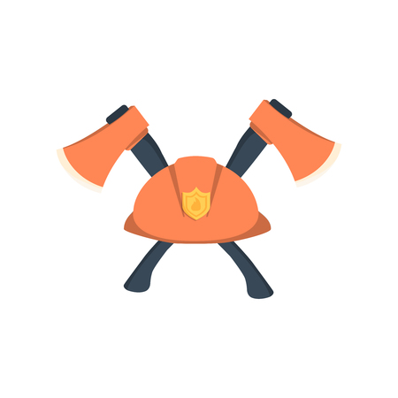public servants: hat fireman fire department cap equipment firefighter axe crossed graphic isolated illustration Illustration