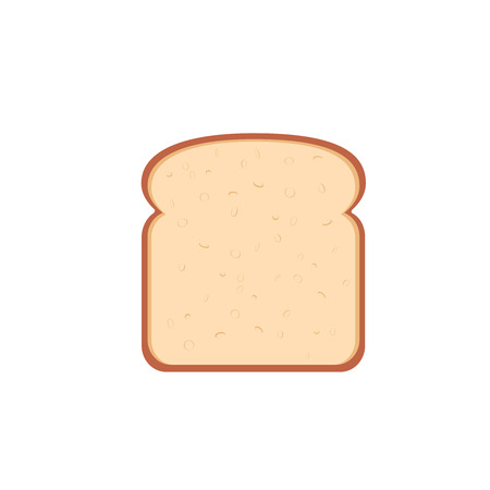 flat design single bread slice icon illustration