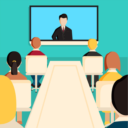 conference call: Corporation directors board at the conference call meeting with CEO at the video projection screen. Modern colorful flat style illustration isolated on white background.