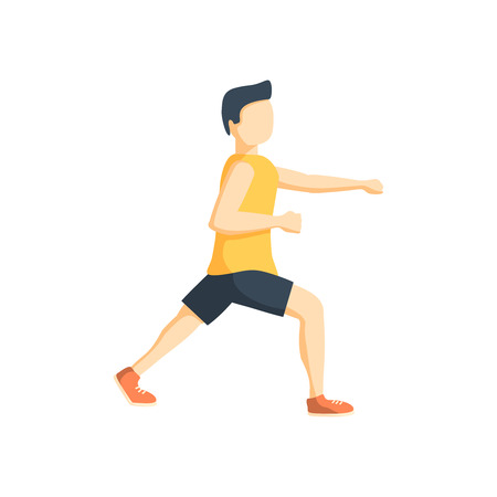 flex: silhouette color man martial arts flex leg with fist