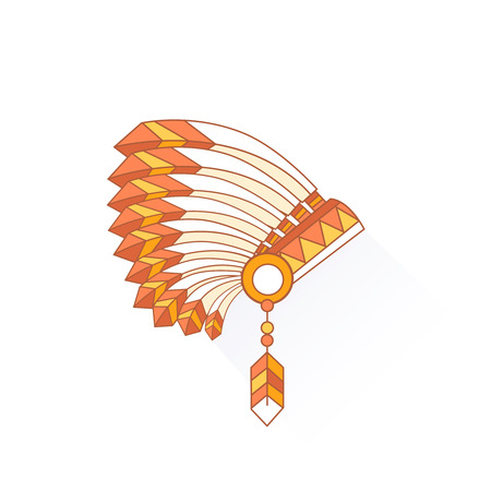 indian chief headdress: Native American Indian chief headdress with plumage. Side view. Vector Illustration Isolated on white background. Illustration