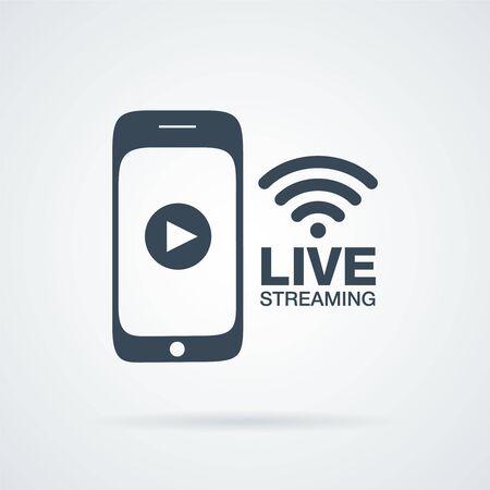 streaming: smartphone video line streaming icon design vector illustration Illustration