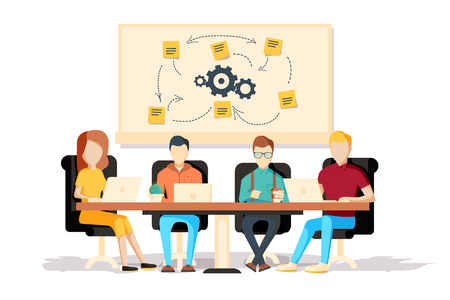scrum: Team working together on a big IT startup business. Strategy planning meeting. SCRUM task board hanging in a team room full of tasks on sticky note cards. Flat style isolated vector illustration.