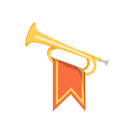 Trumpet with flag icon. Flat illustration of trumpet vector icon for web design Illustration
