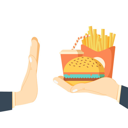 refuse: Rejecting the offered junk food. Gesture hand NO rejecting fast food. Offer fries and a hamburger in hand. Stop fat, calorie, unhealthy snack. Vector illustration flat design. Isolated on background
