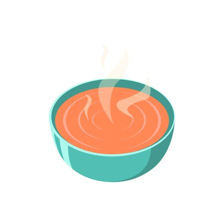 butternut squash: soup dish isolated icon vector illustration. Hot soup picture Illustration