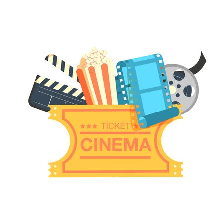 ticket cinema reel pop corn and clapper. set cinema movie icon design. Cinema design over white background, vector illustration.