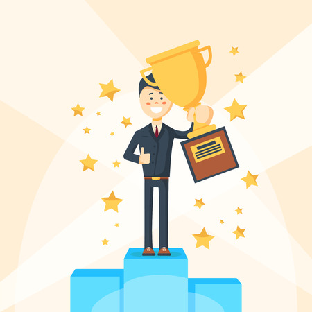 Businessman winner character standing on pedestal. Vector flat cartoon illustration Illustration