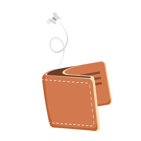 empty wallet: Cartoon empty wallet illustration with flying moth. Vector icon Illustration