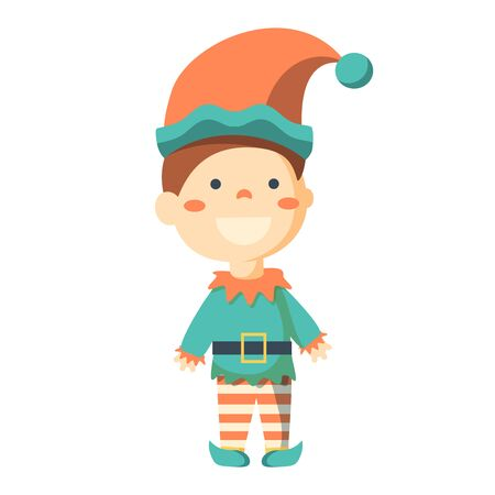 santa helper: happy merry christmas elf character. Merry christmas colorful card design, vector illustration graphic.
