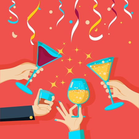 clinking: People clinking glasses of champagne Illustration