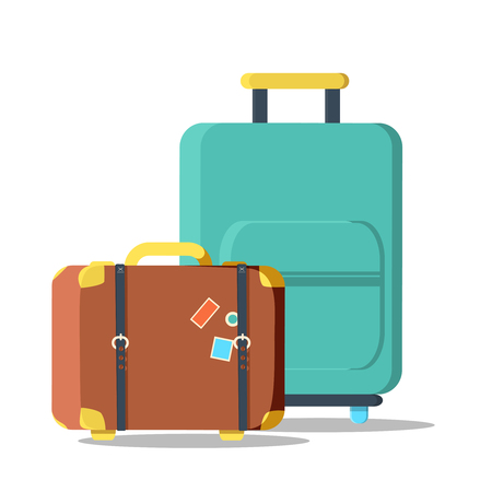 old suitcase: suitcases travel isolated icon. Old Suitcase Travel Stickers isolated with a clipping path. Travel bag. Traveling icon, vector illustration Illustration