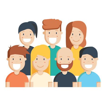 Diverse group of people, students or workplace. Cute and simple flat cartoon style. Isolated vector illustration.