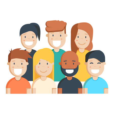 mixed race girl: Diverse group of people, students or workplace. Cute and simple flat cartoon style. Isolated vector illustration.
