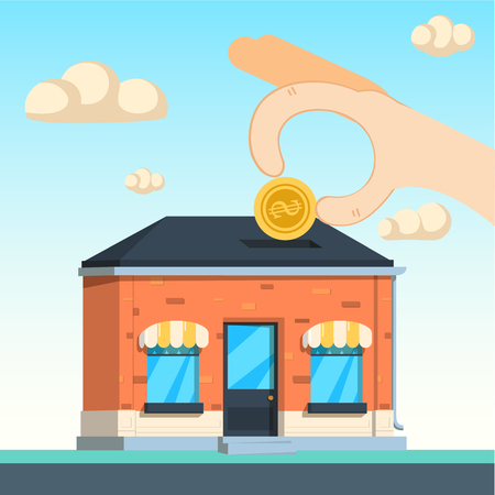 capitalist: Investor places a money inside a corporate building, the investitions in the future concept . Vector illustration background