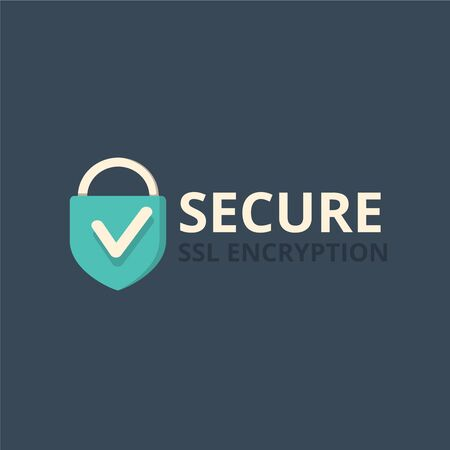 https: Secure internet connection icon vector illustration isolated on dark background, secured ssl padlock symbols, protected badge, safe data encryption technology, https website certificate privacy sign